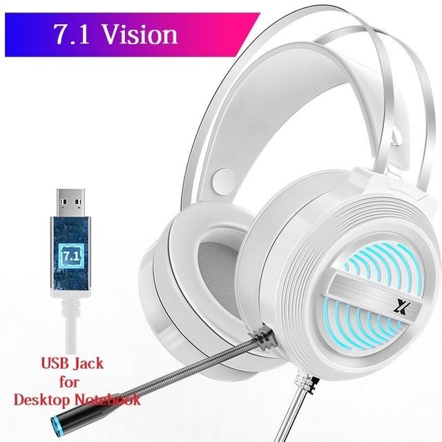 USB Wired Earphone Headset White - 1