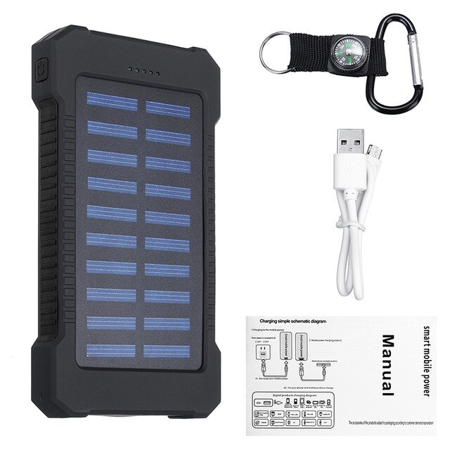 Waterproof Solar Charger Powerbank with LED Light - Black - 1