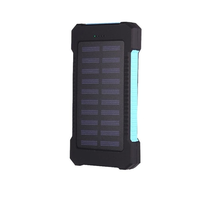 Waterproof Solar Charger Powerbank with LED Light - Blue - 1