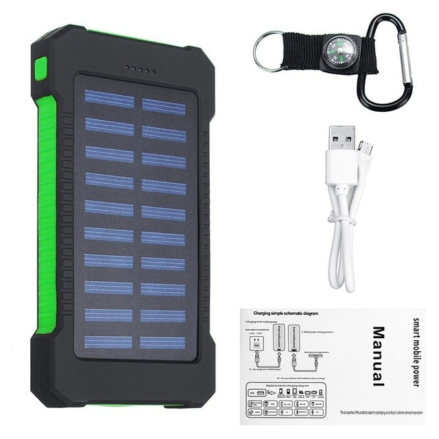Waterproof Solar Charger Powerbank with LED Light - Green - 1