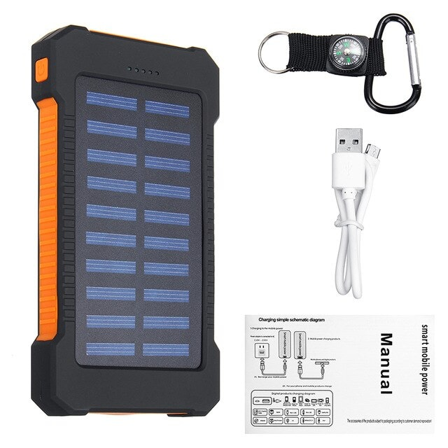 Waterproof Solar Charger Powerbank with LED Light - Orange - 1