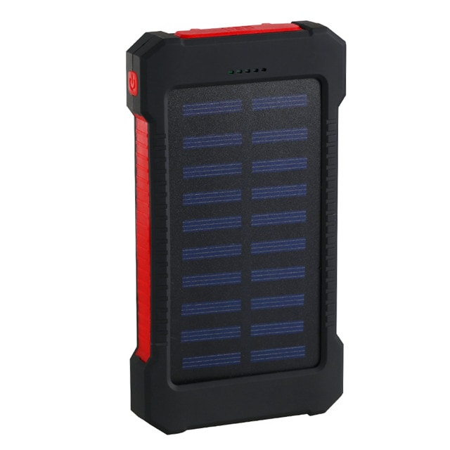 Waterproof Solar Charger Powerbank with LED Light - Red - 1