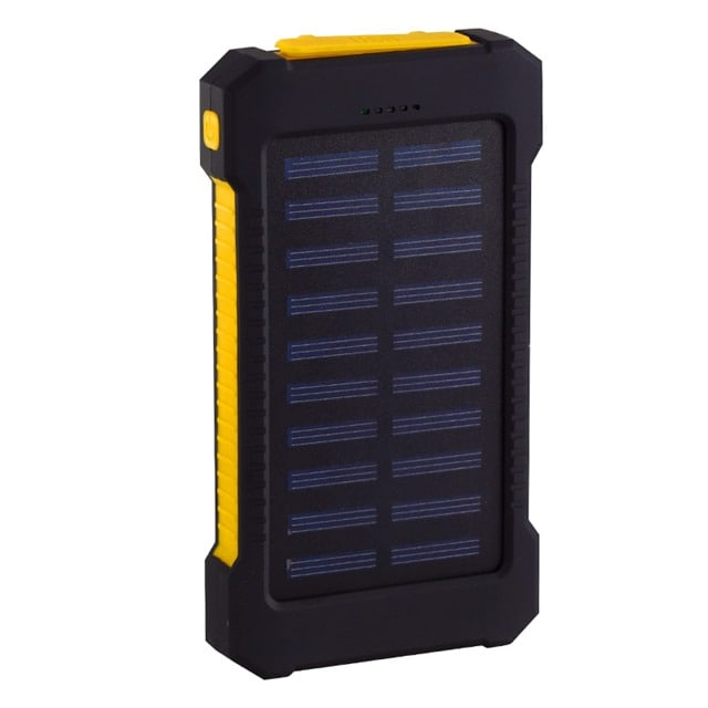 Waterproof Solar Charger Powerbank with LED Light - Yellow - 1