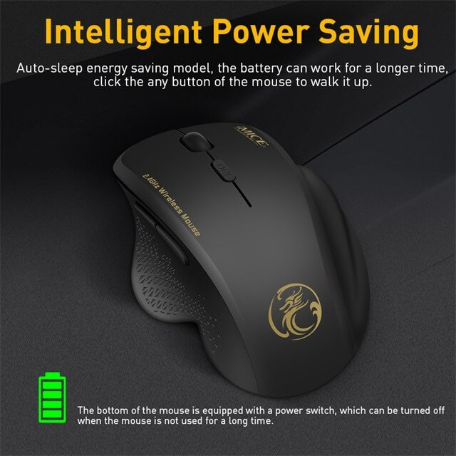 Wireless Mouse Ergonomic Computer Black - 3