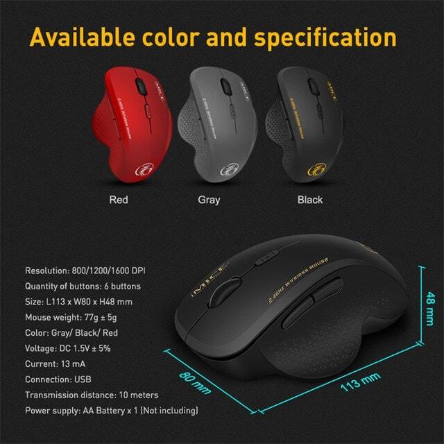 Wireless Mouse Ergonomic Computer Black - 6