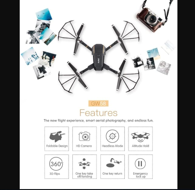 Folding Selfie Drone GW58/XT-1 with HD Camera Headless Mode Hover Quadcopter - 10