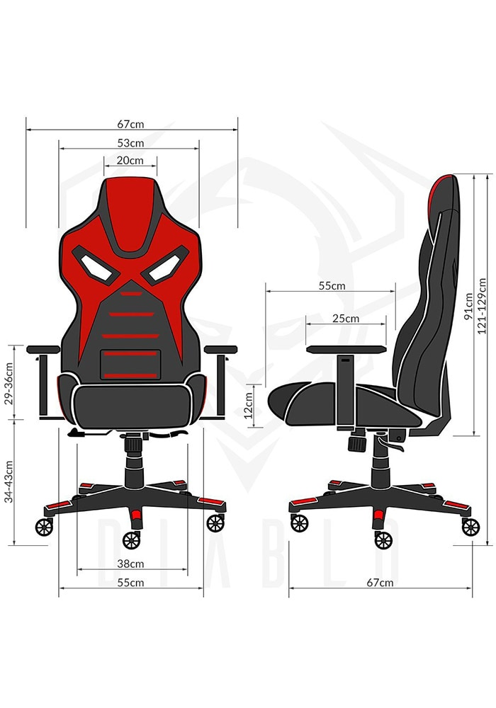 DIABLO X-FIGHTER Gaming Chair Black & red - 9