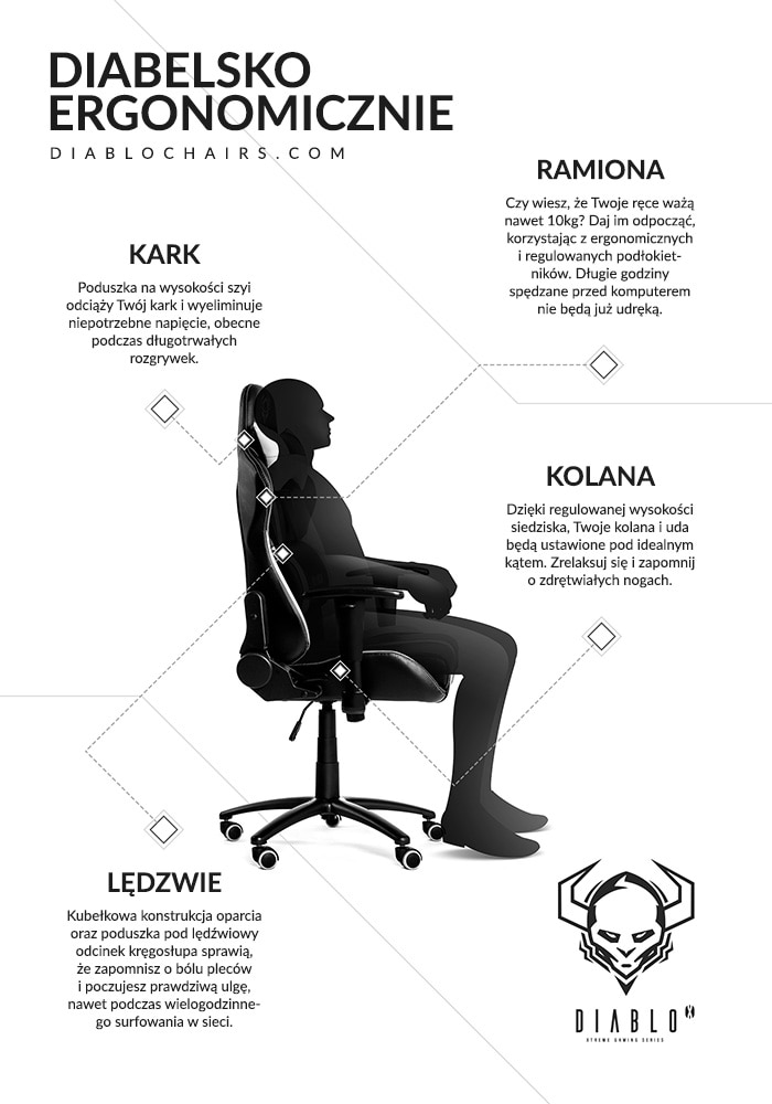 DIABLO X-PLAYER Gaming Chair Black & white - 7