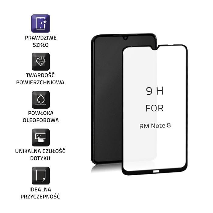 Szkło Ochronne Hartowane Premium Qoltec Do Xiaomi Redmi Note 8   Czarne - 1