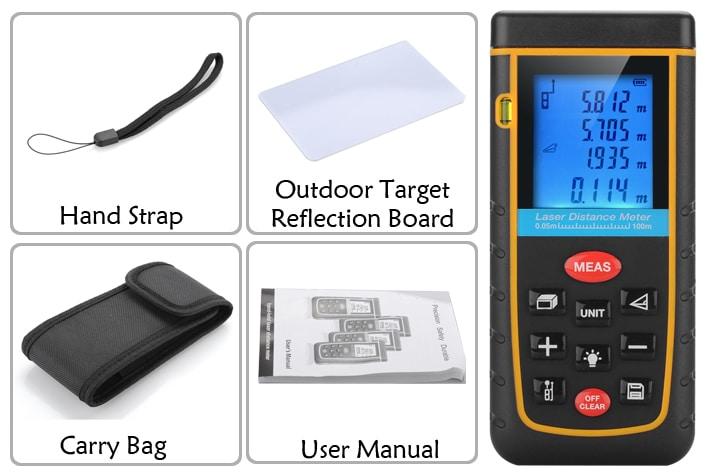 Digital Laser Tape Measure - 0.05 To 100 Meter Range, Spirit Level, IP54, 1/4 Inch Tripod Thread, Carry Case - 8