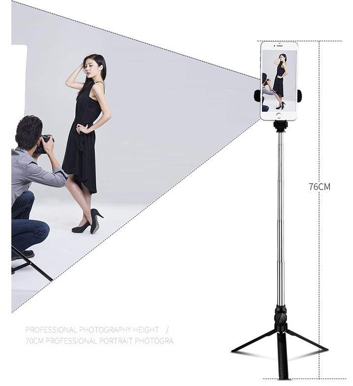 XT09 Tripod Stand Extendable 360° Rotation Self-timer Bluetooth Selfie Stick Monopod Foldable Live XT10  Black - 2