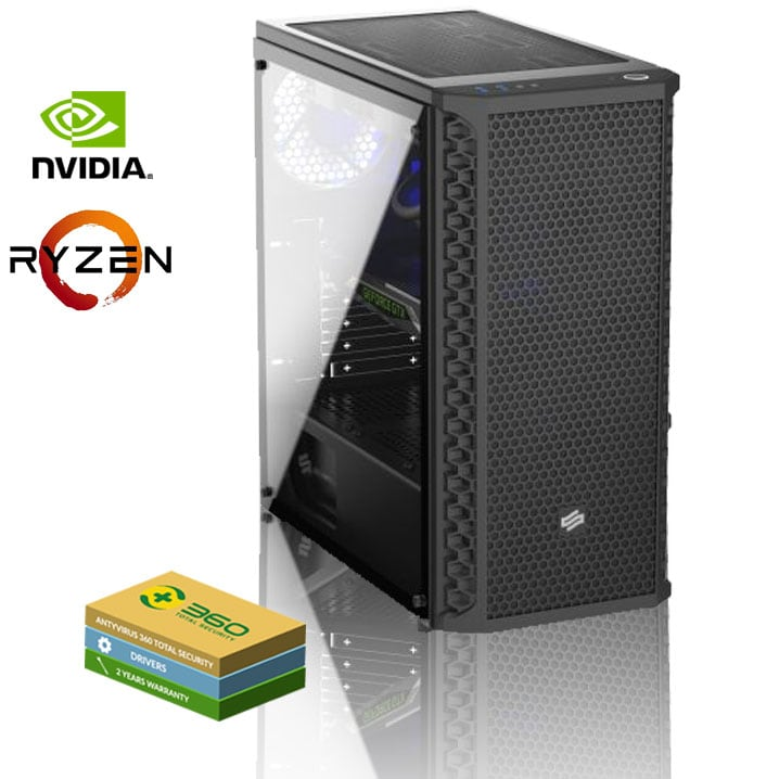 EXGM 1600 Gaming PC | Ryzen 5 2600 16 GB NVIDIA GeForce GTX 1660 240 Windows 10 Home - 1