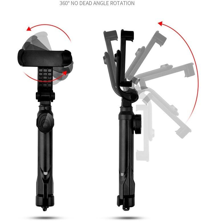 XT09 Tripod Stand Extendable 360° Rotation Self-timer Bluetooth Selfie Stick Monopod Foldable Live XT10  Black - 3