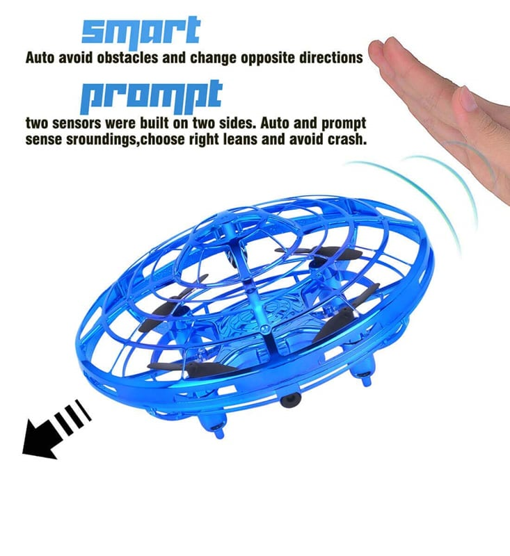 """Mini Quadcopter Drone - """"Force1 Scoot"""" Hands Free Hover Drone Blue - 7"""