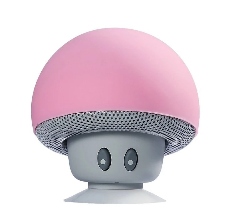 Mini Portable Cute Mushroom Head Bluetooth Speaker Wireless Stereo Speaker with Suction Cup Pink - 3
