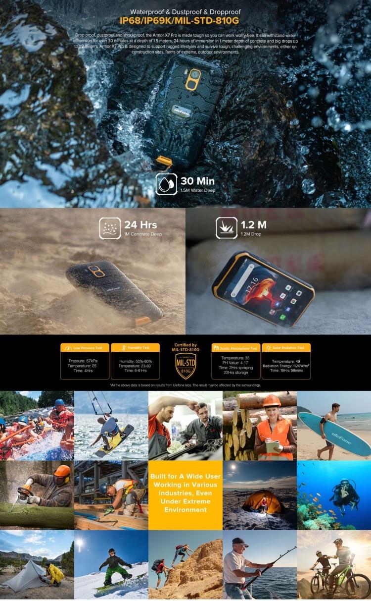 Ulefone Armor X7 Pro Rugged Phone, 4GB+32GB (Black) - 4