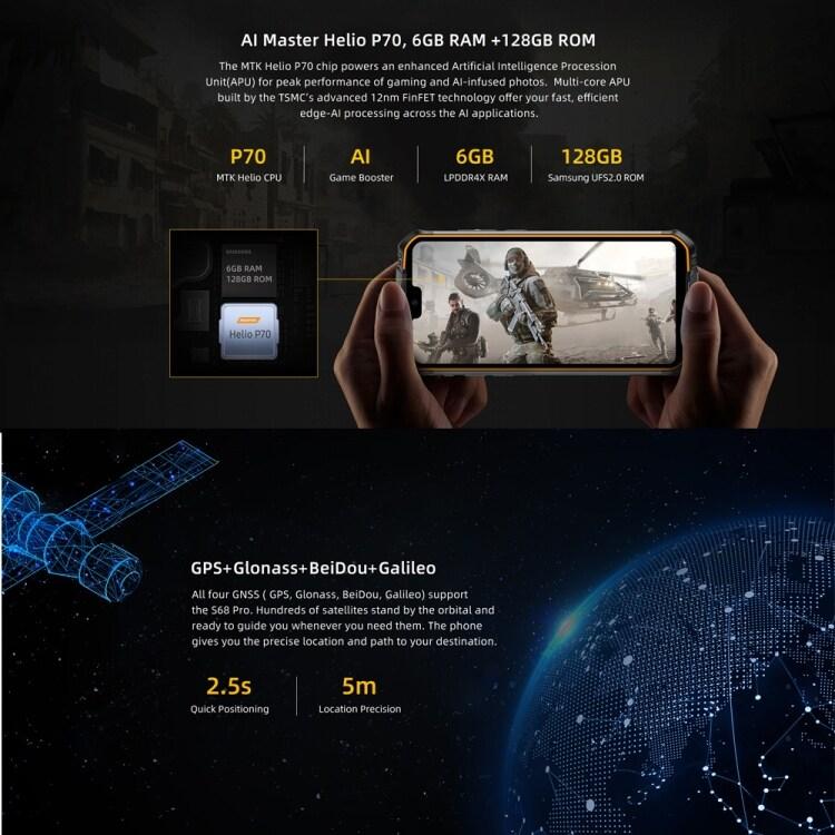 DOOGEE S68 Pro Rugged Phone, 6GB+128GB - 6