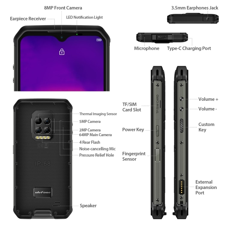 Ulefone Armor 9 Rugged Phone, Thermal Imaging Camera, 8GB+128GB - 4