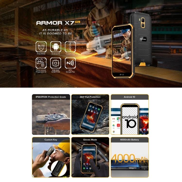 Ulefone Armor X7 Pro Rugged Phone, 4GB+32GB (Yellow) - 4