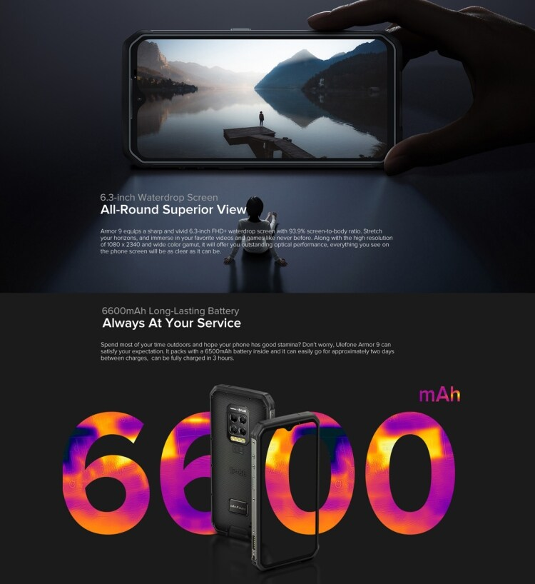 Ulefone Armor 9 Rugged Phone, Thermal Imaging Camera, 8GB+128GB - 9