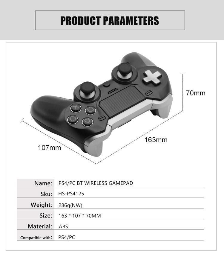 Elite BT Game Controller Wireless Bluetooth Dual Shock Vibration Joystick Built-in headphone speaker for PS4 - 2
