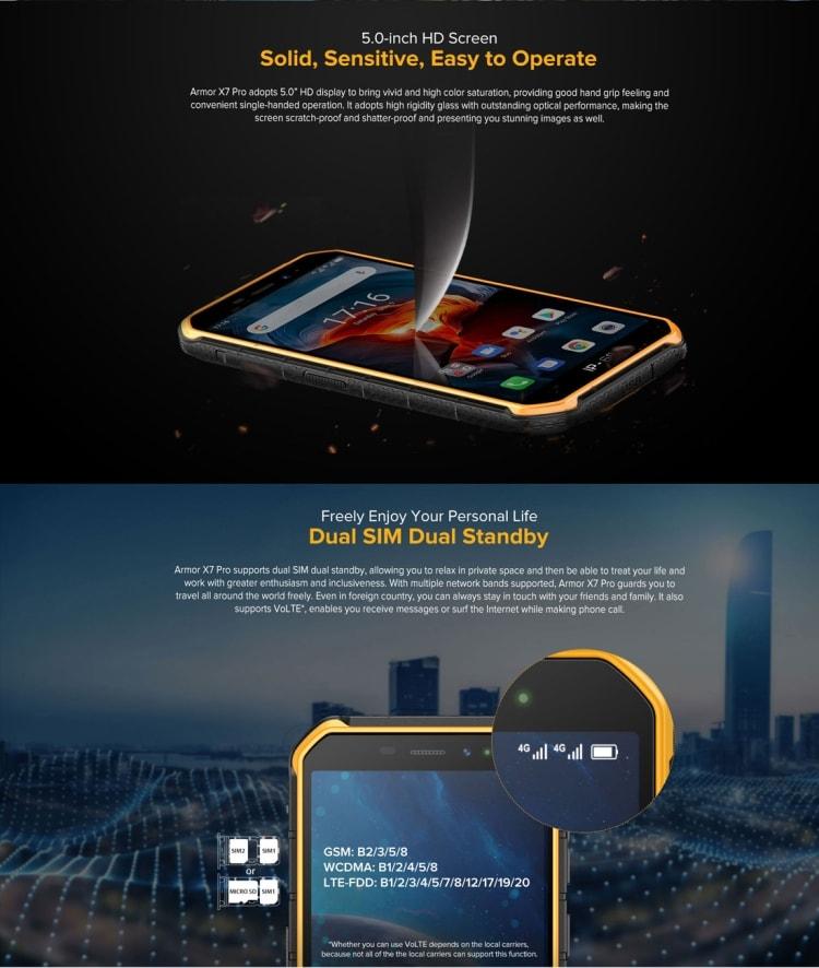 Ulefone Armor X7 Pro Rugged Phone, 4GB+32GB (Black) - 7