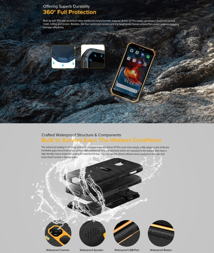 Ulefone Armor X7 Pro Rugged Phone, 4GB+32GB (Yellow) - 6