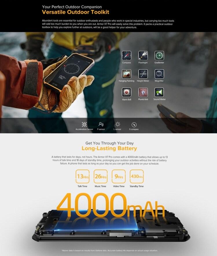 Ulefone Armor X7 Pro Rugged Phone, 4GB+32GB (Yellow) - 9
