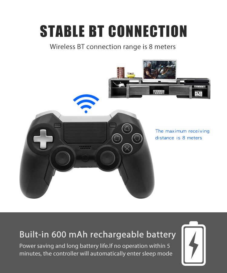 Elite BT Game Controller Wireless Bluetooth Dual Shock Vibration Joystick Built-in headphone speaker for PS4 - 4