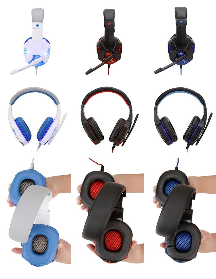 Adjustable Gaming Headset For SONY Playstation/Xbox/NS/PC with Noise Cancelling and Mic Auriculares Red - 5