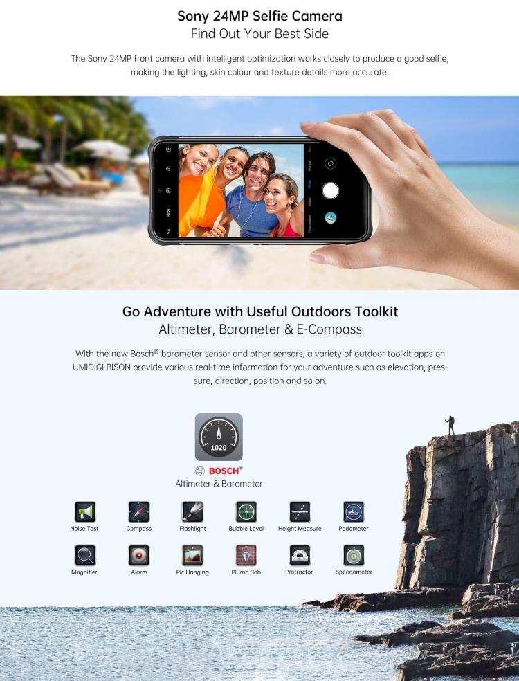 UMIDIGI BISON Rugged Phone, 6GB+128GB (Orange) Orange 128 GB 6 GB - 6