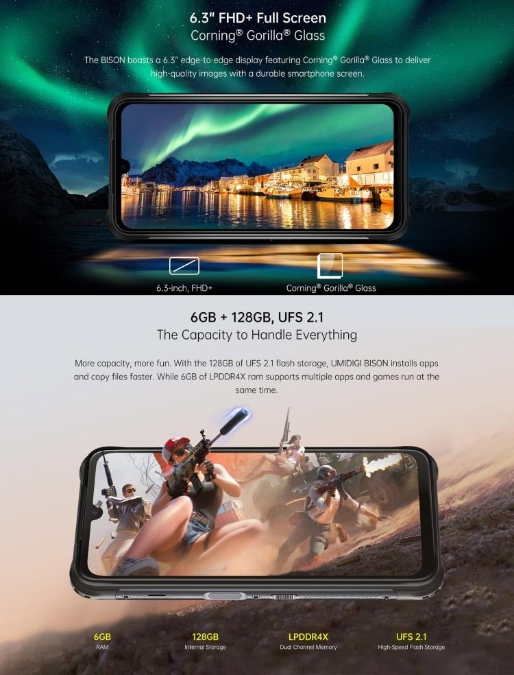 UMIDIGI BISON Rugged Phone, 6GB+128GB (Orange) Orange 128 GB 6 GB - 12