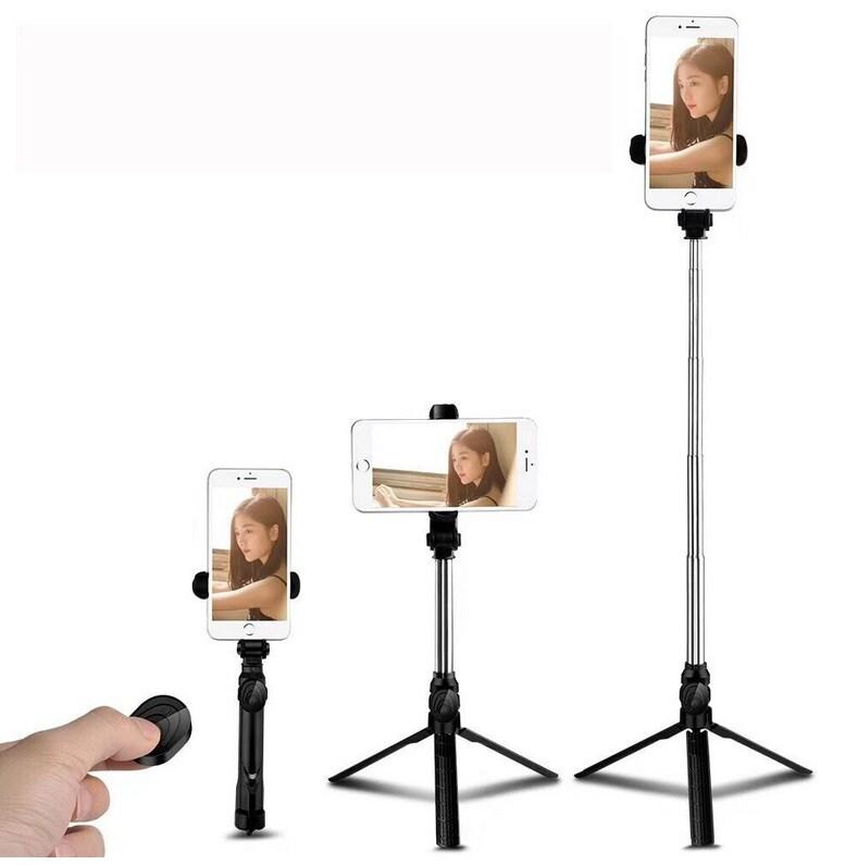 XT09 Tripod Stand Extendable 360° Rotation Self-timer Bluetooth Selfie Stick Monopod Foldable Live XT10  Black - 5