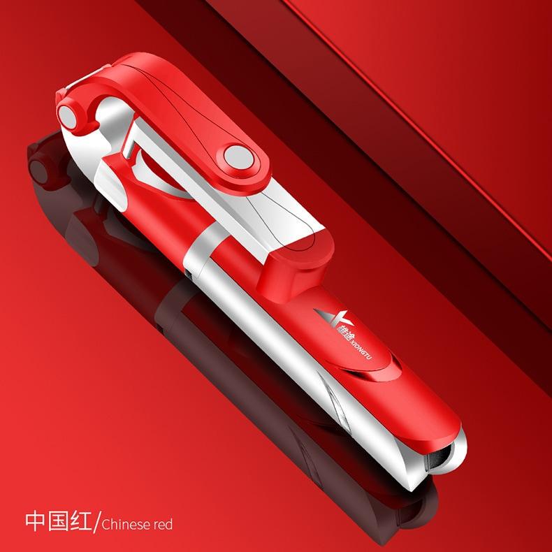 XT09 Tripod Stand Extendable 360° Rotation Self-timer Bluetooth Selfie Stick Monopod Foldable Live XT10  Pink - 8