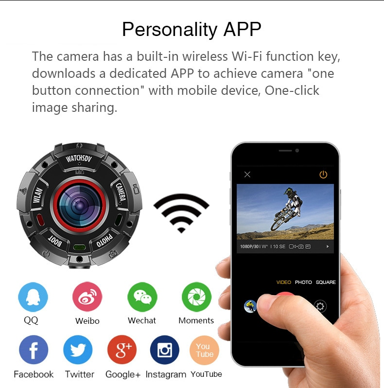 Wearable and Detachable Smart Sports Camera - 1080P, APP, Wifi, Magnetic Base, Waterproof, Hunting Camera - 9