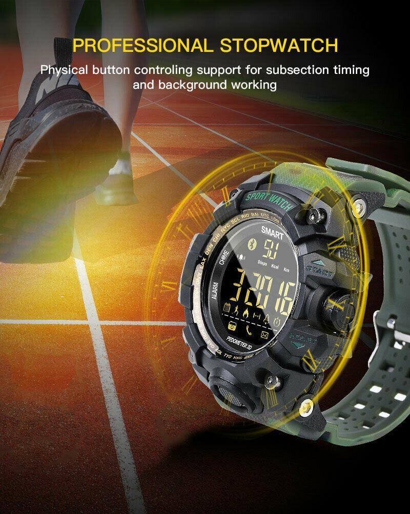 EX16S Waterproof Smart Sport Watch Bluetooth Pedometer Men Wristwatch Green - 4