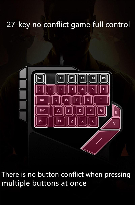 AULA One-Handed Mini Gaming Keyboard Backlight 27 keys Anti-Ghosting - 9