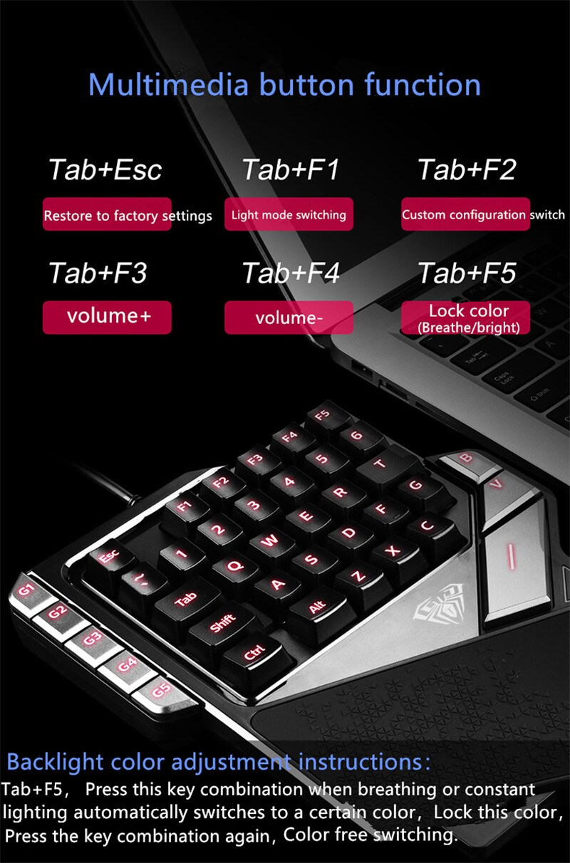 AULA One-Handed Mini Gaming Keyboard Backlight 27 keys Anti-Ghosting - 10