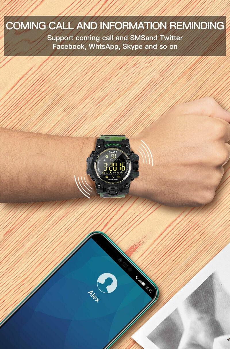EX16S Waterproof Smart Sport Watch Bluetooth Pedometer Men Wristwatch Green - 2