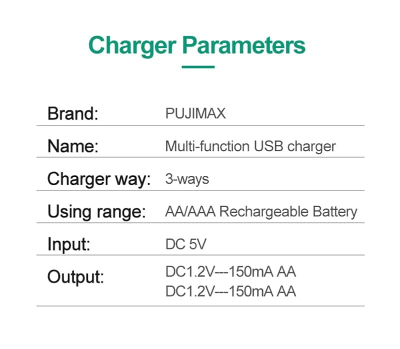 Battery Charger For Universal AA / AAA Rechargeable Batteries 3000mAh - 5