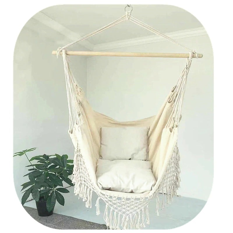 130x x100 x100cm Nordic style Home Garden Hanging Hammock Chair Outdoor Indoor Dormitory Swing Hanging Chair with Wooden Black & white & gray - 3