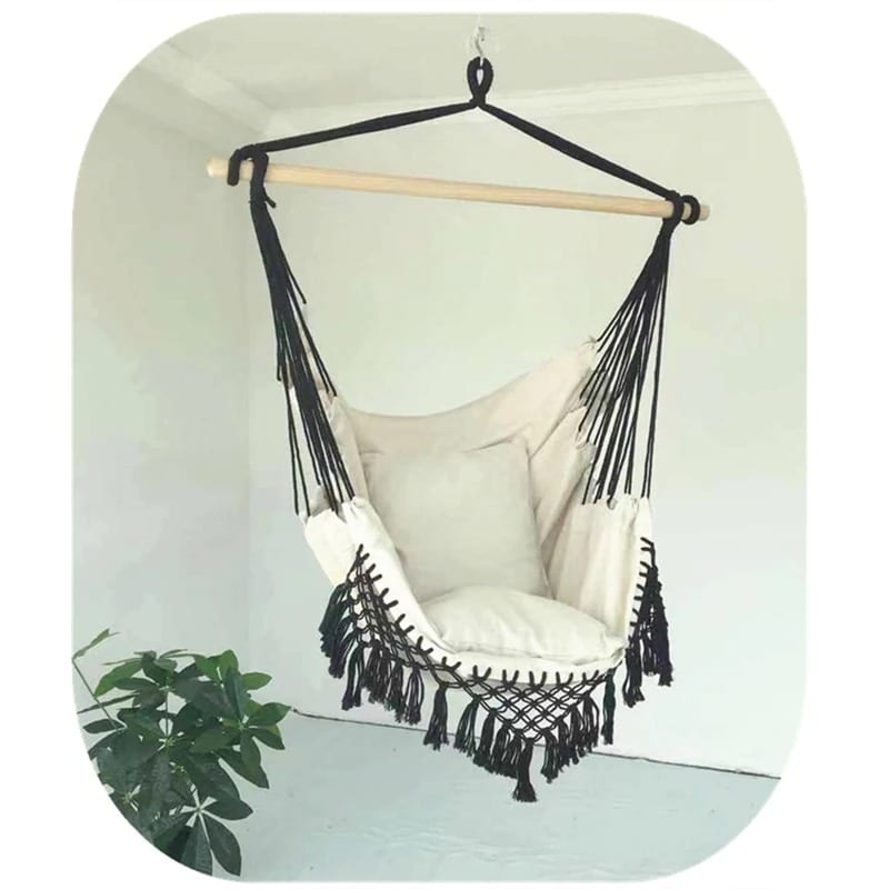 130x x100 x100cm Nordic style Home Garden Hanging Hammock Chair Outdoor Indoor Dormitory Swing Hanging Chair with Wooden Black & white & gray - 2