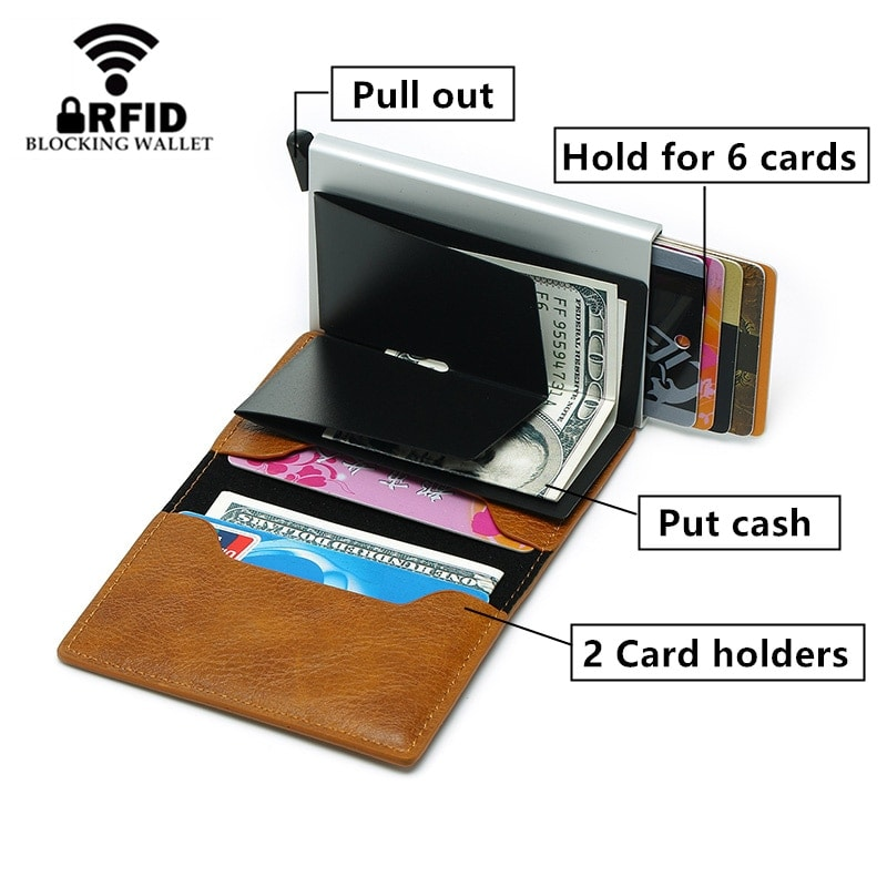 2020 RFID Smart Wallet Business Card Holder Hasp Aluminum Metal for Man and Women - Brown - 3