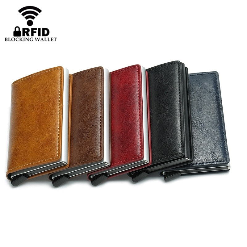 2020 RFID Smart Wallet Business Card Holder Hasp Aluminum Metal for Man and Women - Brown - 1