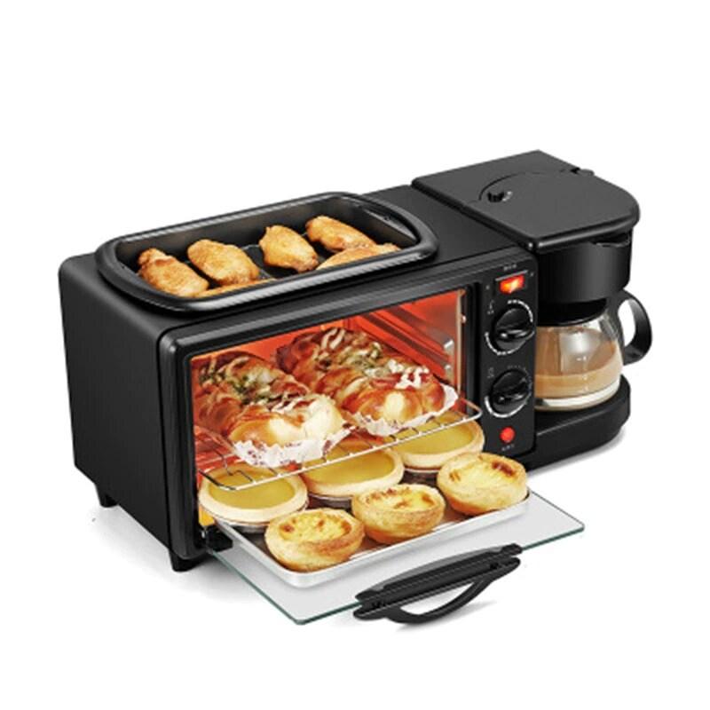 3 in 1 Breakfast Making Machine Multifunction Mini Drip Coffee Maker Bread Pizza Oven Frying Pan Toaster Breakfast Machi Black - 6