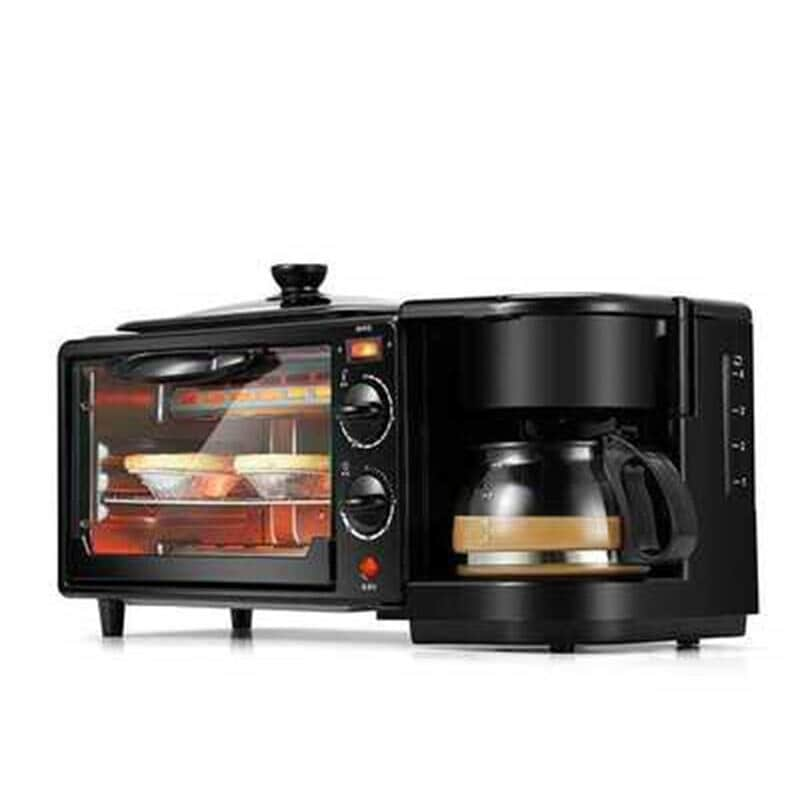 3 in 1 Breakfast Making Machine Multifunction Mini Drip Coffee Maker Bread Pizza Oven Frying Pan Toaster Breakfast Machi Black - 3