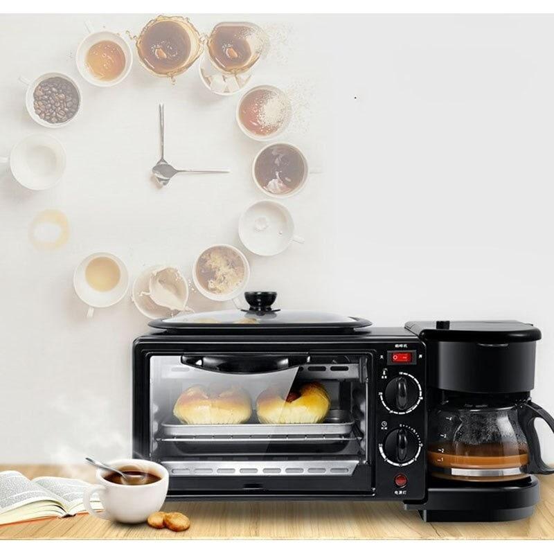 3 in 1 Breakfast Making Machine Multifunction Mini Drip Coffee Maker Bread Pizza Oven Frying Pan Toaster Breakfast Machi Black - 1