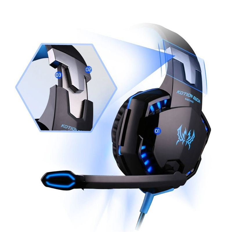 3.5mm Gaming Headset Mic LED Headphones Stereo Surround for PS3 PS4 Xbox ONE 360 Blue - 3