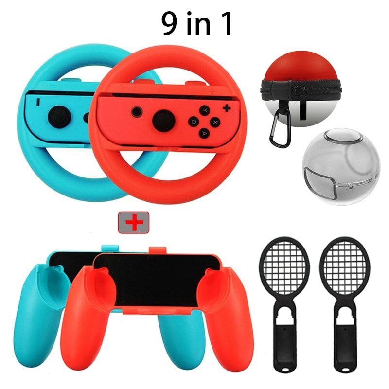 9 in 1 Accessories Kit Joy-Con Case For Nintend Switch Joy Con Handle Elf ball bag Nintendo Switch Gaming - 1