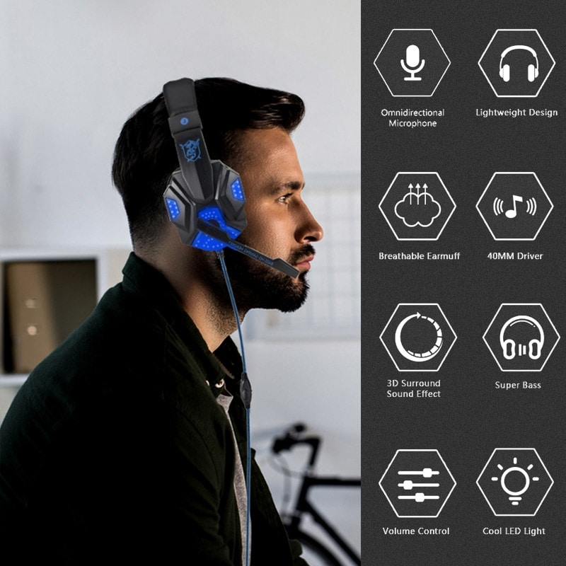 Adjustable Gaming Headset For SONY Playstation/Xbox/NS/PC with Noise Cancelling and Mic Auriculares Blue - 7